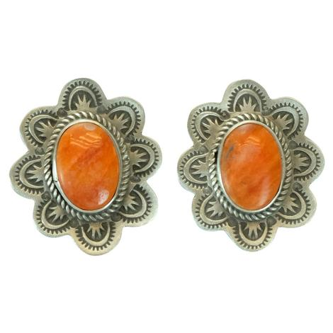 Spiny Oyster and Sterling Silver Concho Earrings