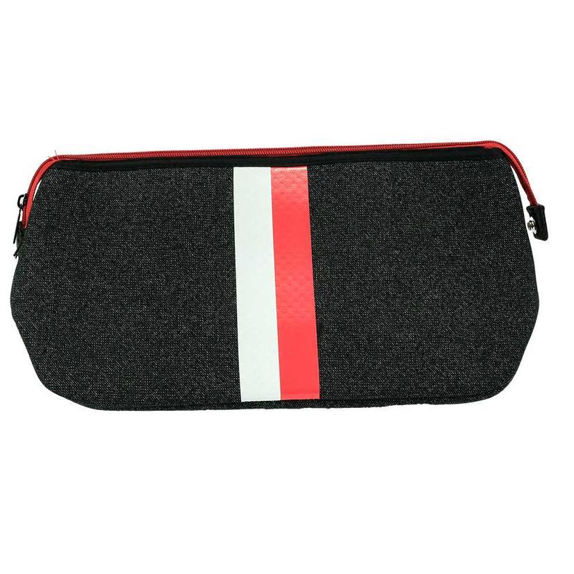 Haute Shore Kyle Toiletry Bag Black Denim Red White Stripe