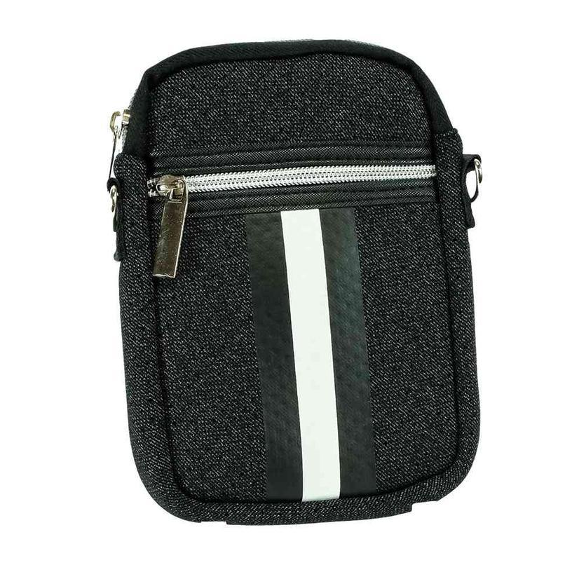Haute Shore Casey Cell Phone Bag Black Denim White Stripe