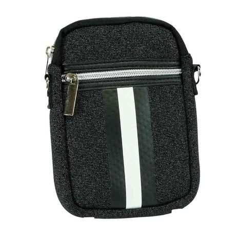 Haute Shore Casey Cell Phone Bag Black Denim White Stripe