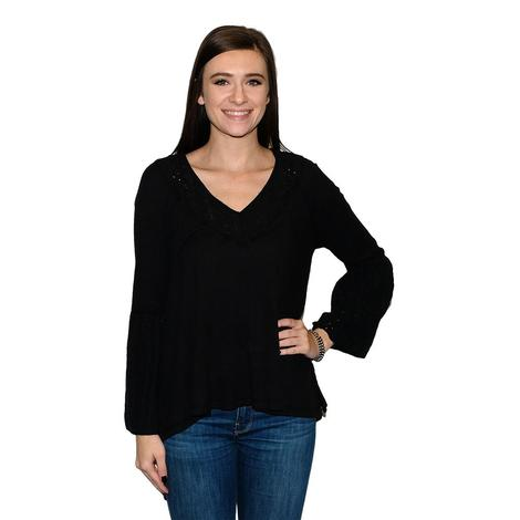 Free People Black Long Sleeve Women's Blouse
