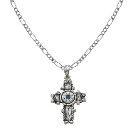 Montana Silversmith Fancy Silver Cross Necklace with Blue Center