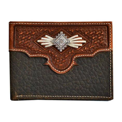 Nocona Brown and Black Tooled Bifold Wallet