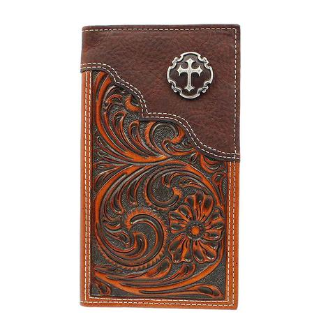 Nocona Brown Embossed Cross Rodeo Wallet