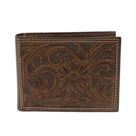 Nocona Brown Floral Embossed Bifold Wallet