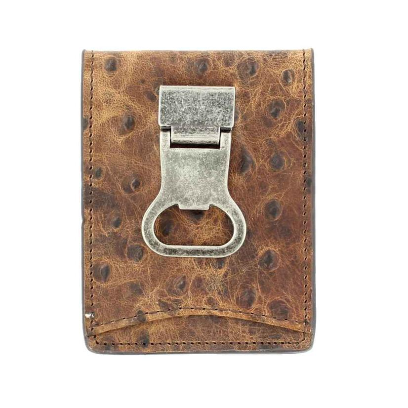 Nocona Brown Ostrich Bifold Bottle Opener Wallet
