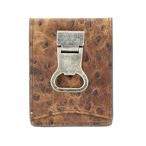 Nocona Brown Ostrich Bifold Bottle Opener Wallet