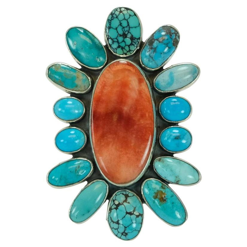 Turquoise And Spiny Oyster Stone Ring