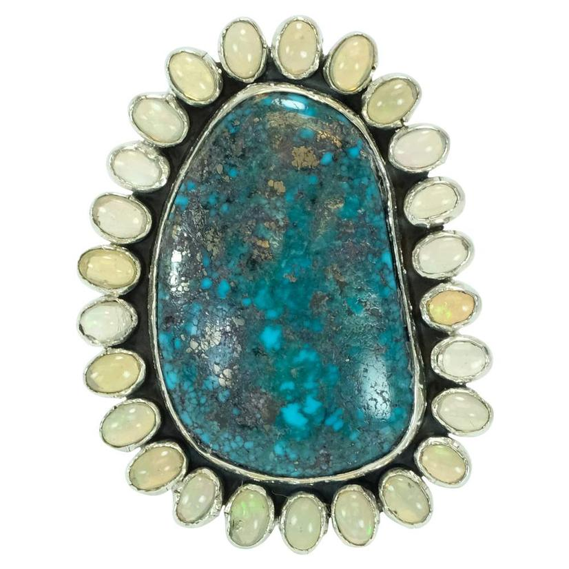 Blue Green Turquoise And Opal Ring