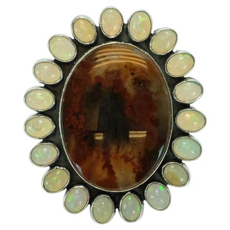 Large Oval Amber and Opal Ring