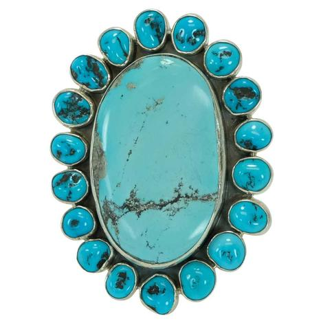 Large Oval Turquoise Cluster Ring