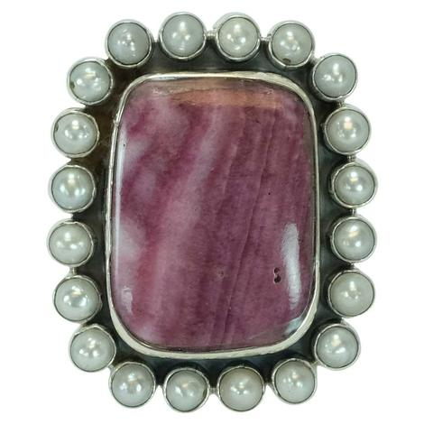 Large Rectangle Purple Spiny Oyster and Pearl Ring