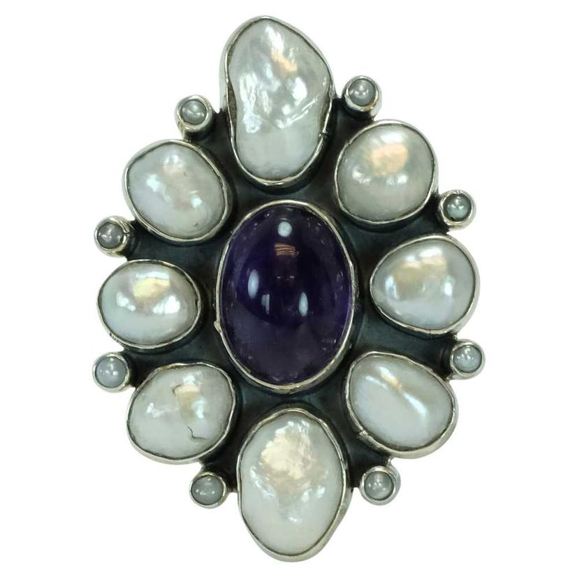 Amethyst And Pearl Cluster Ring