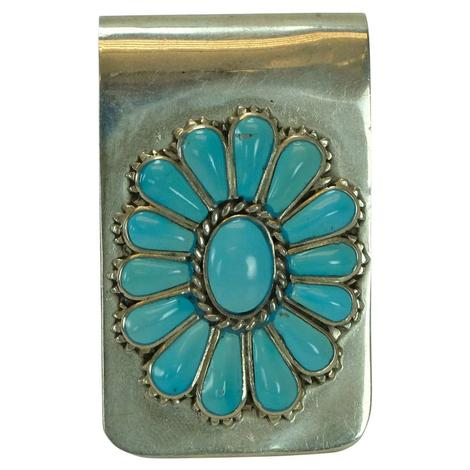 Sterling Silver and Turquoise Cluster Money Clip