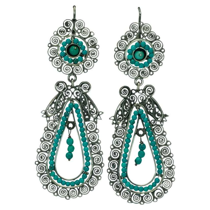 Sterling Silver And Turquoise Filigree Drop Earrings