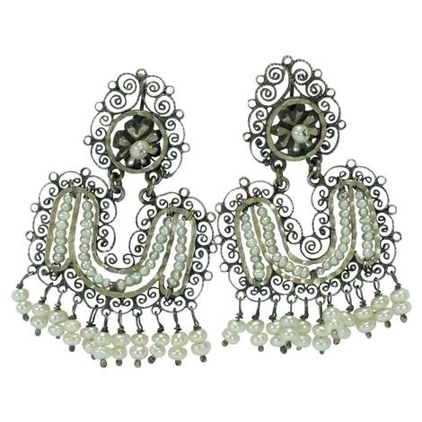 Sterling Silver Filigree and Pearl Dangle Earrings