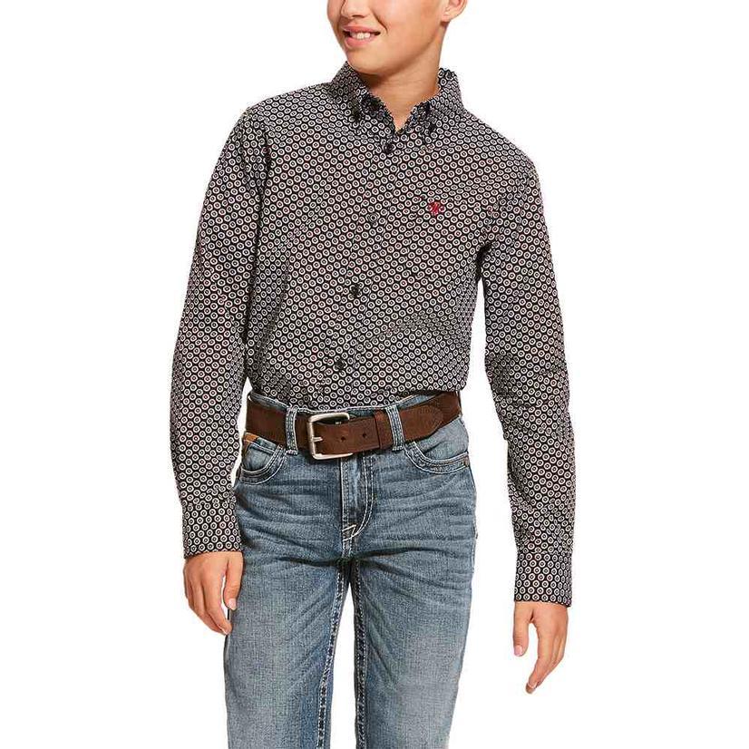 Ariat Dalporto Black Print Long Sleeve Button Down Boy's Shirt
