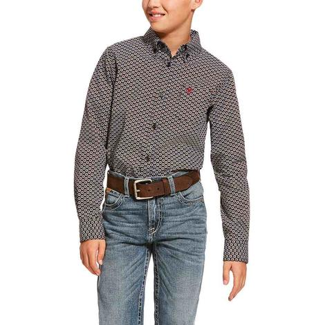 Ariat Dalporto Black Print Long Sleeve Button Down Boy's Shirt