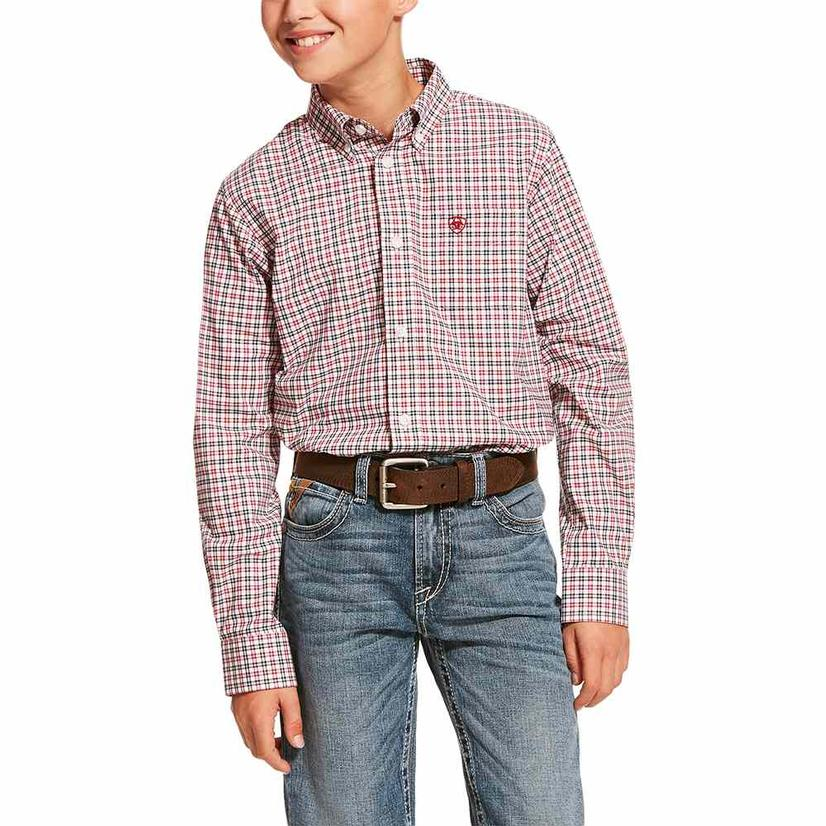 Ariat Dagley Stretch White Red Plaid Long Sleeve Button Down Boy's Shirt