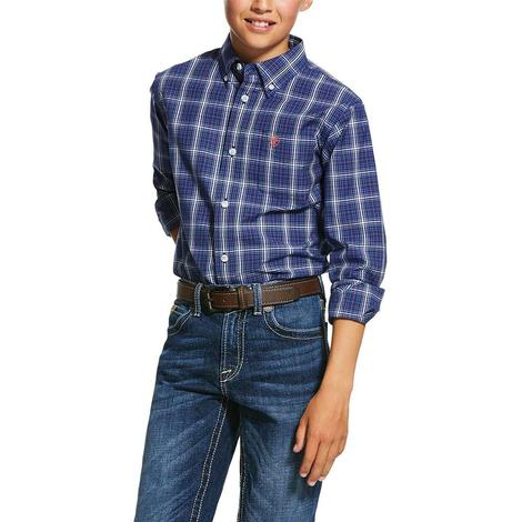 Ariat Gadsen Blue Plaid Long Sleeve Button Down Boy's Shirt