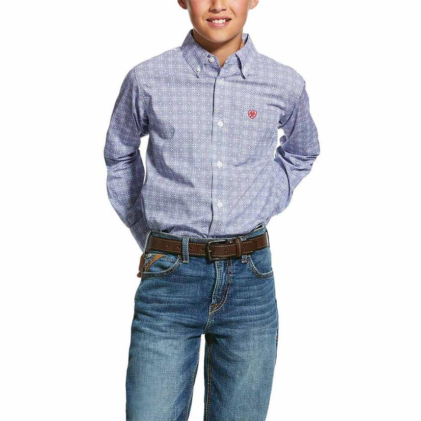 Ariat Glaston Print Long Sleeve Button Down Boy's Shirt