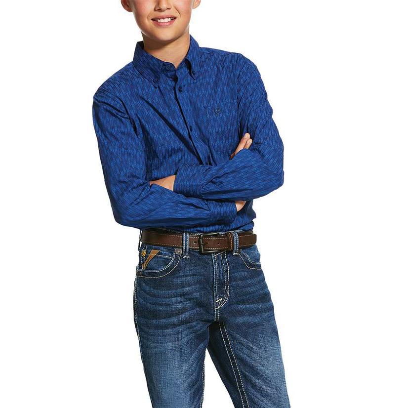 Ariat Navy Blue Print Long Sleeve Button Down Boy's Shirt