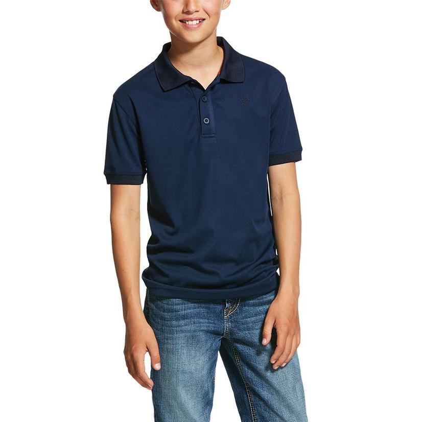 Ariat Navy Tek Polo Boy's Shirt