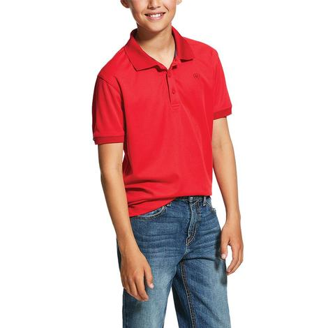 Ariat Red Tek Polo Boy's Short Sleeve Shirt