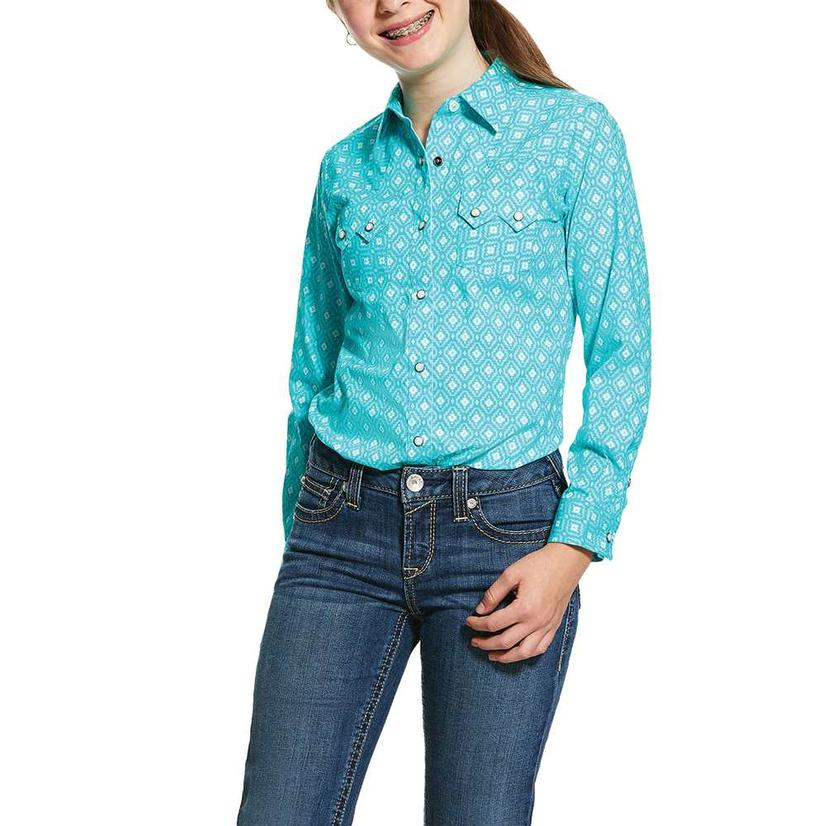 Ariat Real Turquoise Print Long Sleeve Button Down Girl's Shirt