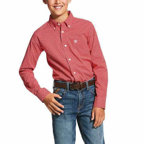 Ariat Nakima Red Print Long Sleeve Button Down Boy's Shirt