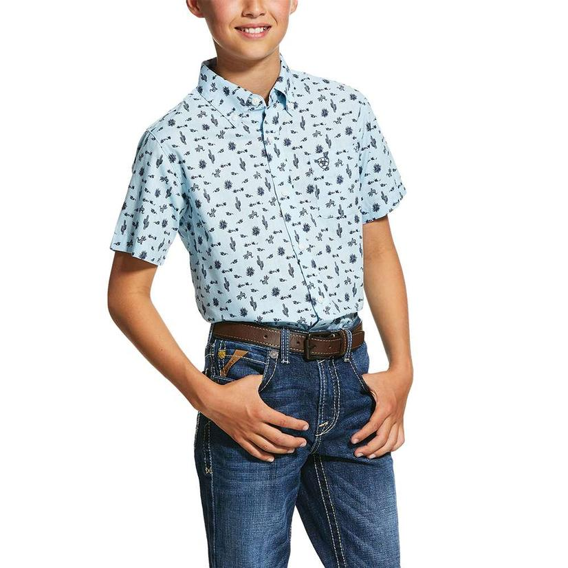 Ariat Norristown Cactus Print Short Sleeve Button Down Boy's Shirt