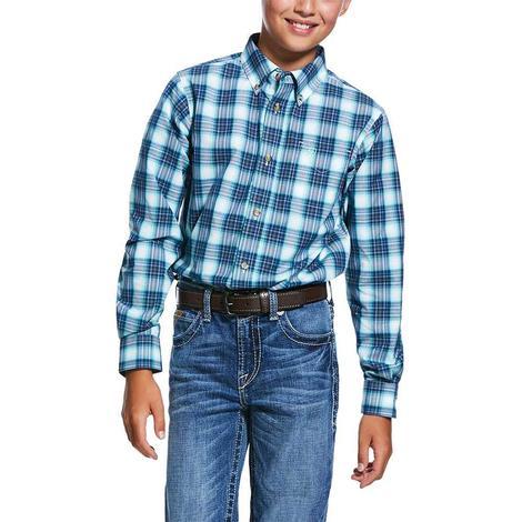 Ariat Roselle Blue Plaid Long Sleeve Buttondown Boy's Shirt