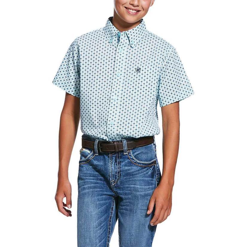 Ariat Reedley Mint Print Short Sleeve Buttondown Boy's Shirt