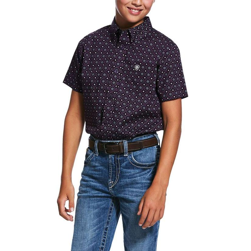 Ariat Redland Purple Print Short Sleeve Buttondown Boy's Shirt