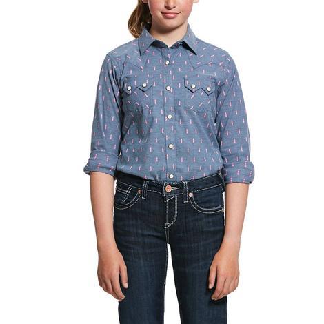 Ariat REAL Grey Print Long Sleeve Snap Girl's Shirt