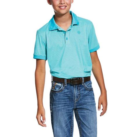 Ariat Micro Stripe Tek Short Sleeve Polo Boy's Shirt