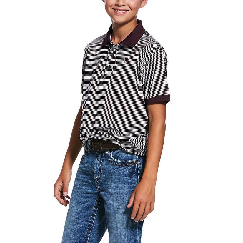 Ariat Micro Stripe Tek Short Sleeve Mahogany Polo Boy's Shirt