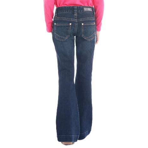 Rock and Roll Cowgirl Dark Vintage With Stud Pocket Girl's Trouser Jeans