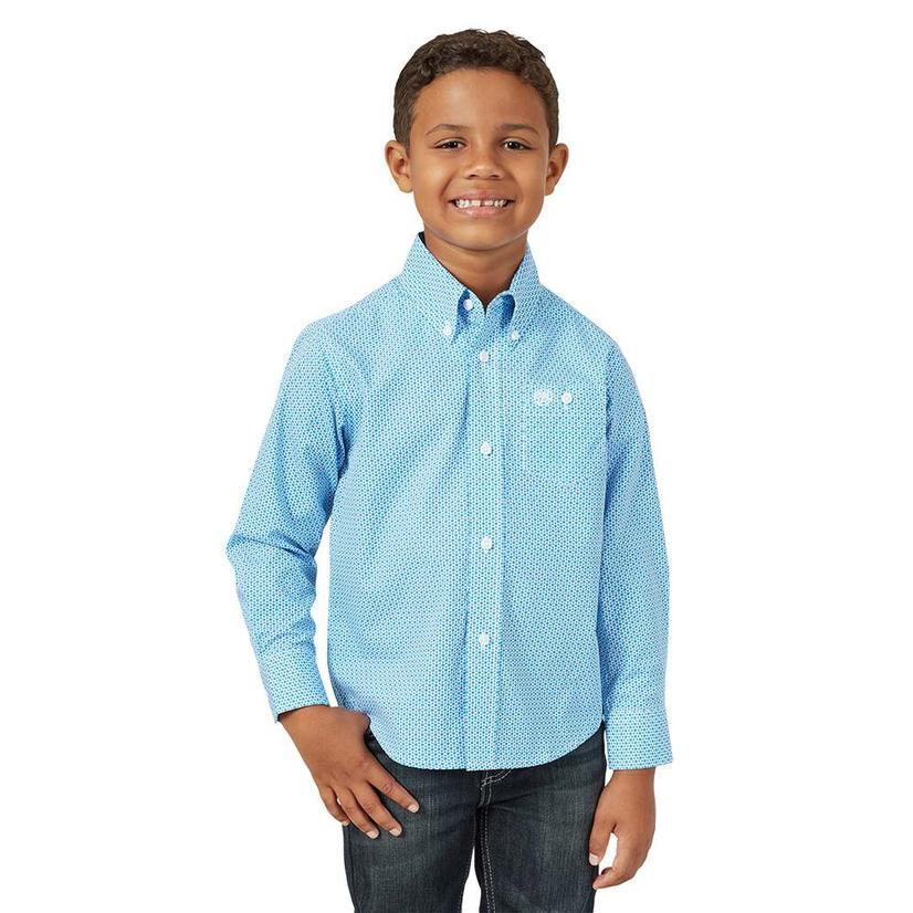 Wrangler Assorted Classic Long Sleeve Button Down Boy's Shirts - Blue or Red BLUE/WHITE