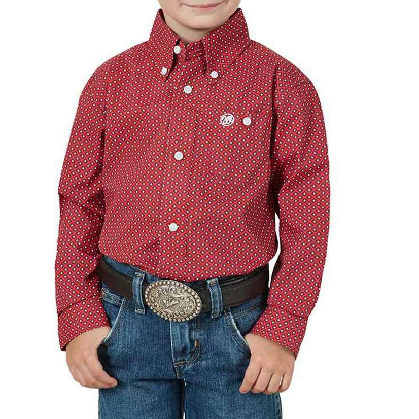 Wrangler Assorted Classic Long Sleeve Button Down Boy's Shirts - Blue Or Red