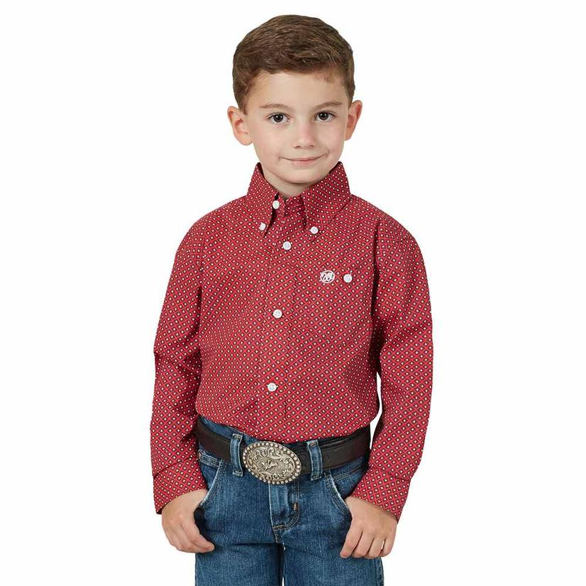 Wrangler Assorted Classic Long Sleeve Button Down Boy's Shirts - Blue or Red RED/BLUE