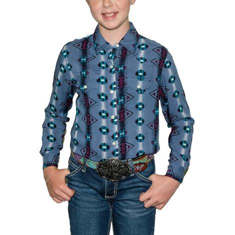 Wrangler Blue Chechotah Print Western Long Sleeve Boy's Shirt