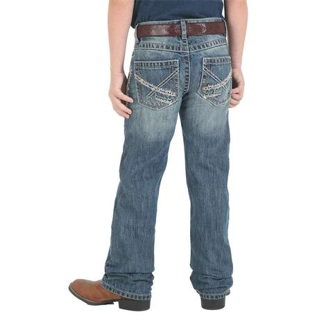 Wrangler 20X No. 42 Vintage Breaking Barriers Wash Bootcut Boy's Jeans - Size 4-7