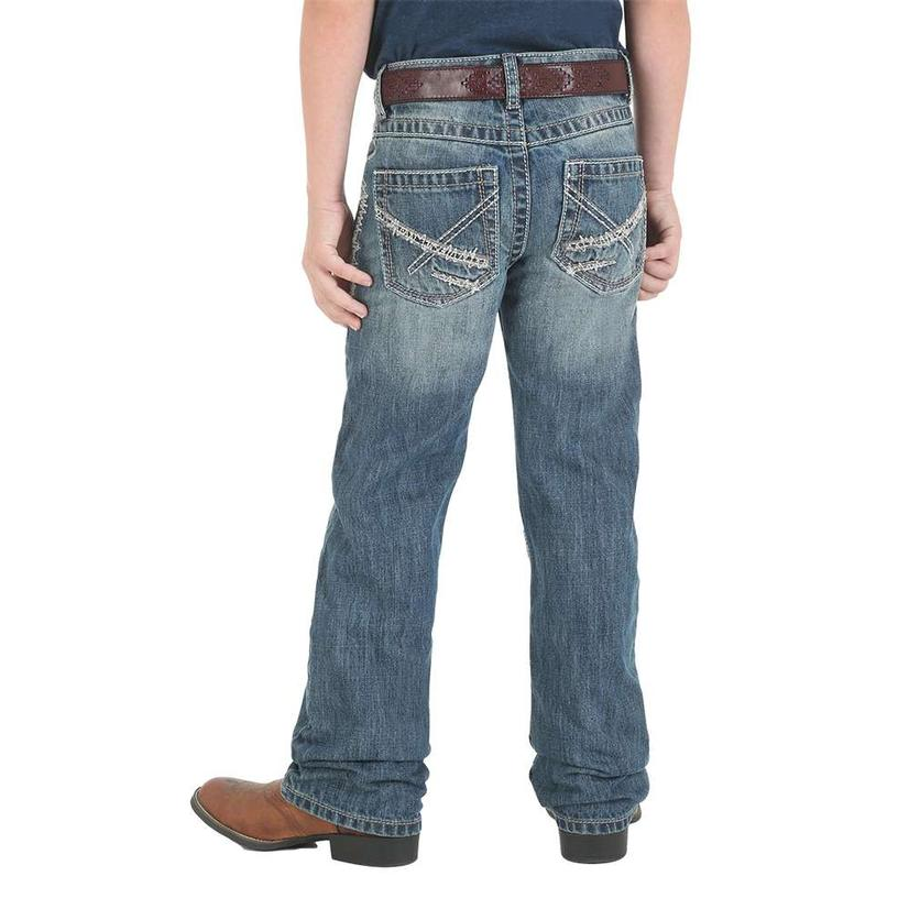 Wrangler 20x No.42 Vintage Breaking Barriers Wash Bootcut Boy's Jeans - Size 8- 18