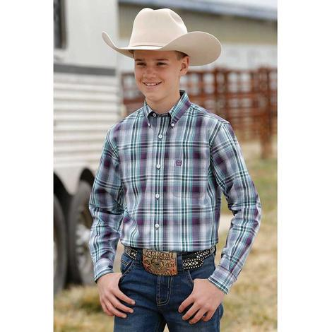 Cinch Teal Purple Plaid Long Sleeve Button Down Boy's Shirt