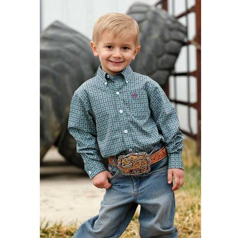 Cinch Green Purple Print Long Sleeve Button Down Toddler Shirt