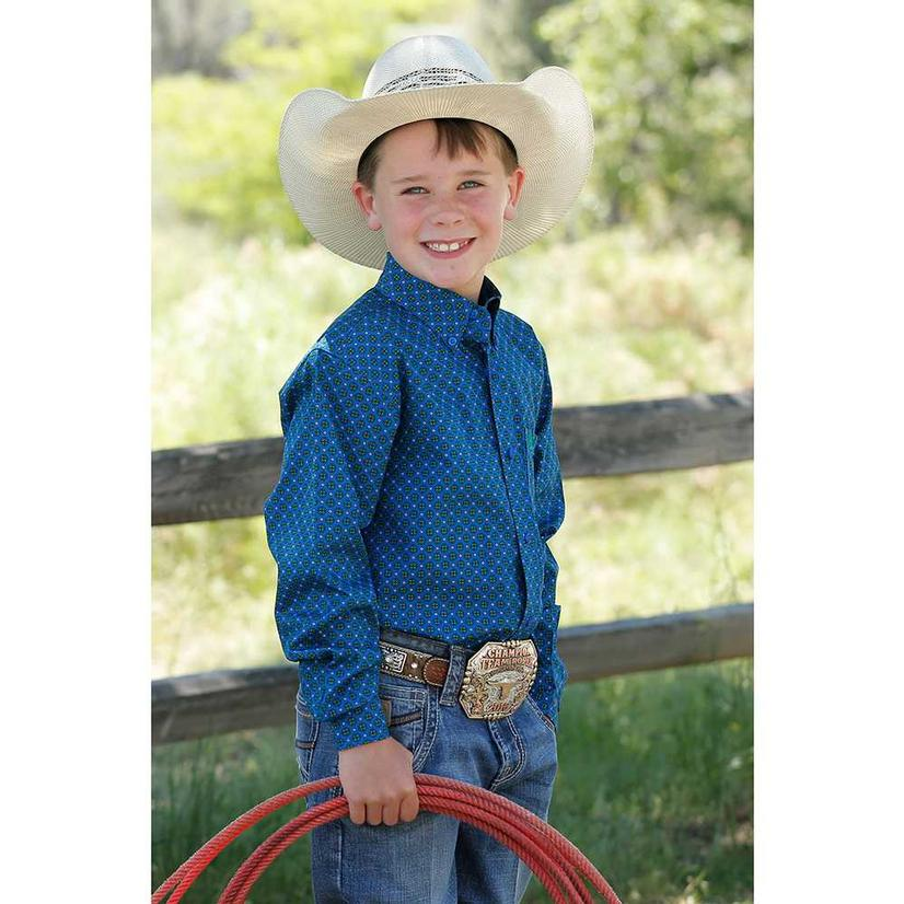 Cinch Blue Print Long Sleeve Button Down Boy's Shirt