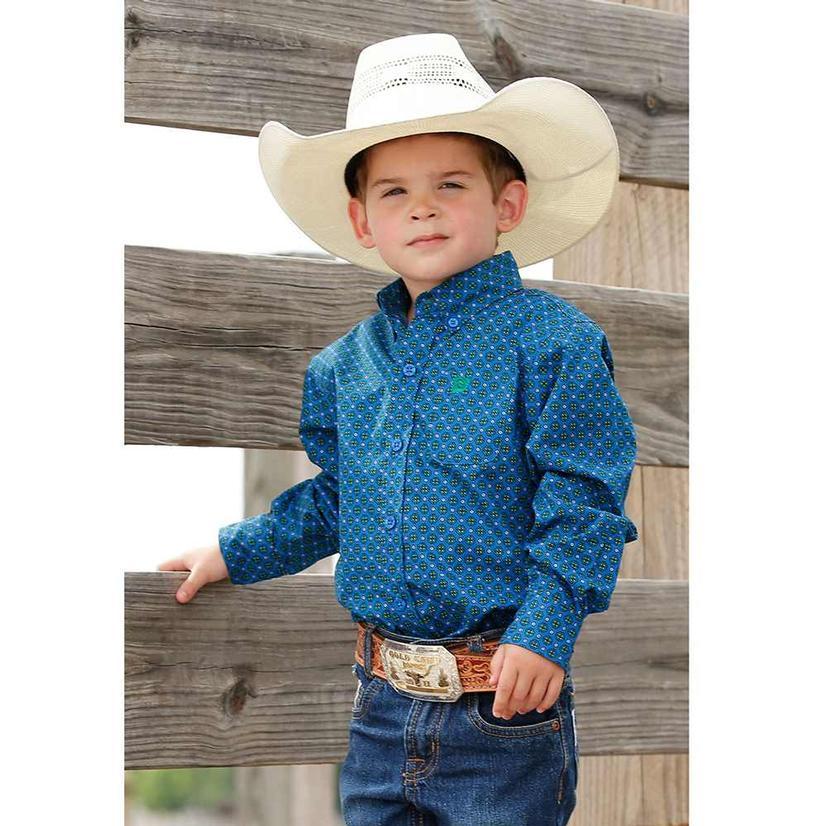 Cinch Blue Print Long Sleeve Button Down Toddler Shirt