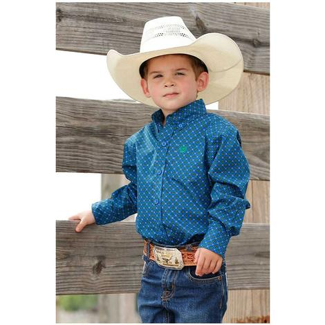 Cinch Blue Print Long Sleeve Button Down Infant Shirt