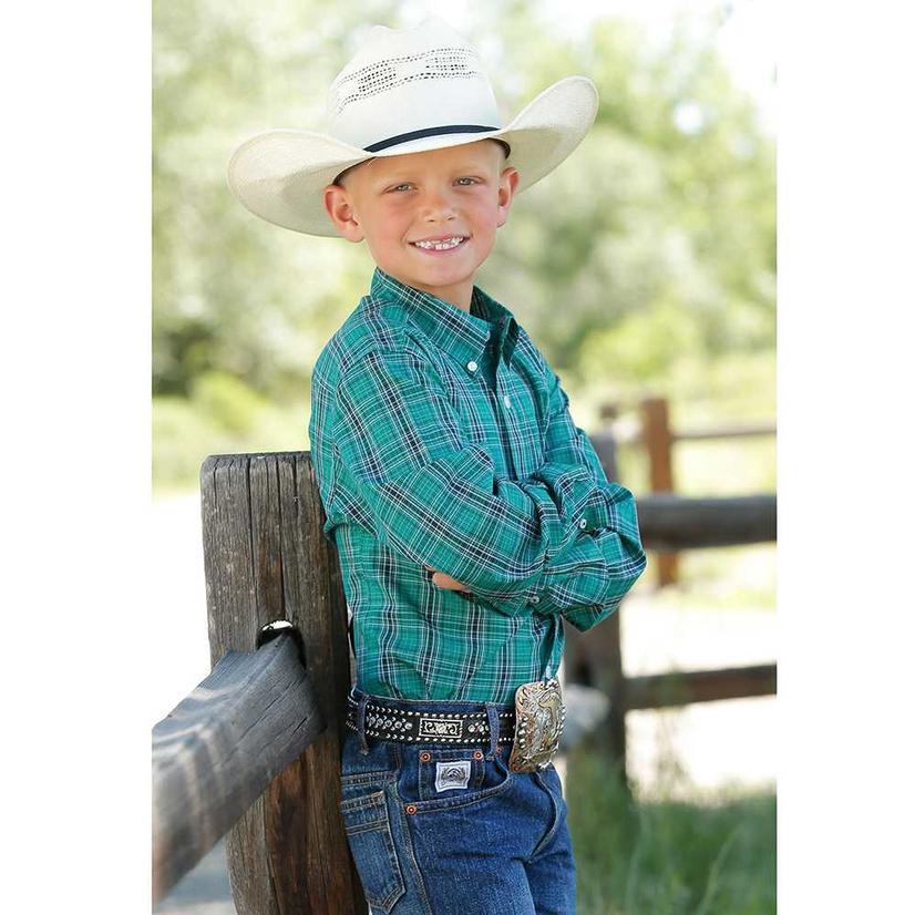 Cinch Green Plaid Long Sleeve Button Down Boy's Shirt